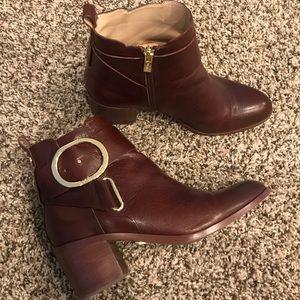 DKNY Leather Block Heel Booties
